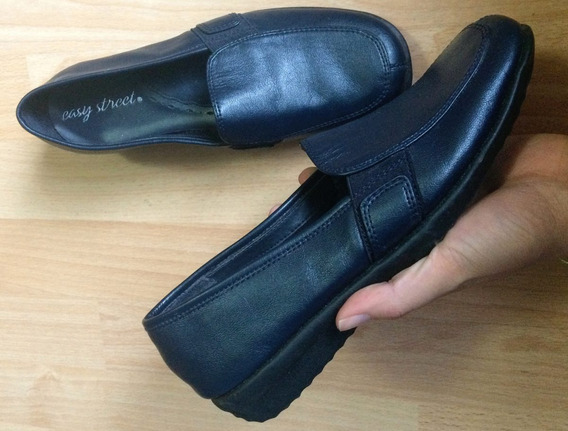 Zapatos Flats Mocasines Easy Street Azul Marino Finos!!!