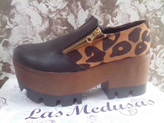 Zapatos Plataforma Mujer Animal Print Cierres