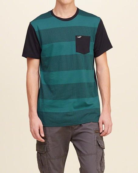 Camiseta Importada Hollister Masculina Listrada Bolso Fr Gts