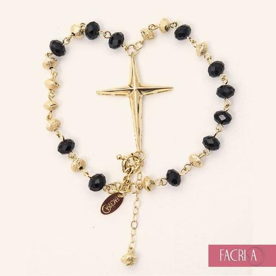 Bracelete Pulseira Terço Cristais Folheada A Ouro 18k