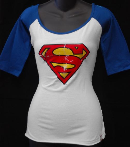 Blusa Mujer Camiseta Raglan Superman Clasica Flash Avengers