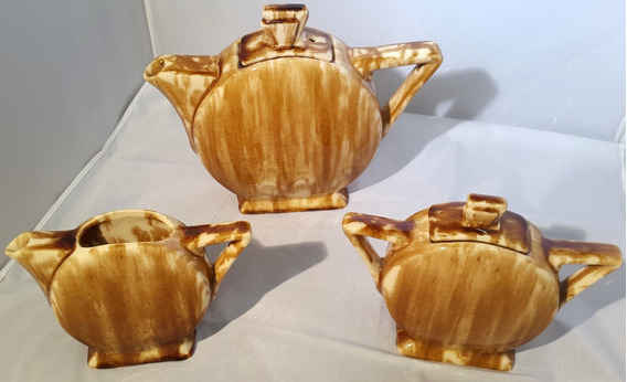Juego Tetera Lechera Y Azucarera Ceramica Diseño Linea Recta