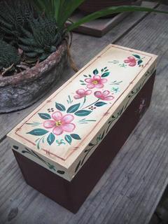 Caja De Madera, Adorno, Caja De Té, Pintada A Mano, Flores