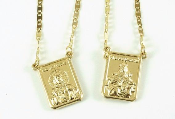 Escapulário Masculino Ouro 18k Piastrine M 63cm Ep0345