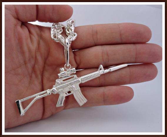 Pingente Arma M4a1 Custom, Em Prata De Lei, Frete Grátis