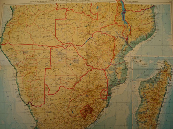 Mapa Antiguo De Sud Africa Madagascar Botswana Rhodesia