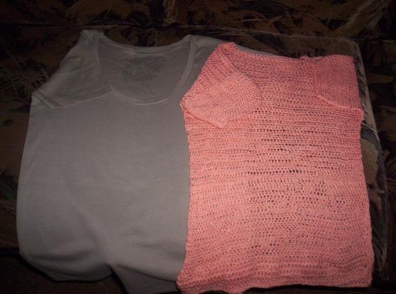 Remeras Nuevas, Crochet Y Algodón, Sin Uso