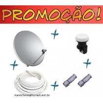 Antena 60 Cm Banda Ku+lnb+20mts Cabo+fixação-completa