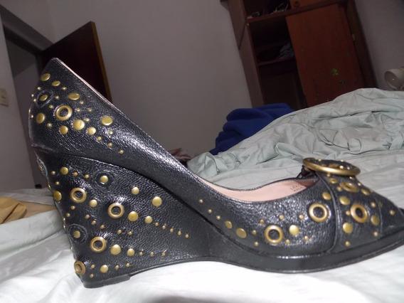 Zapato Oscar De La Renta Peep Toe Original Nro 37 1/2