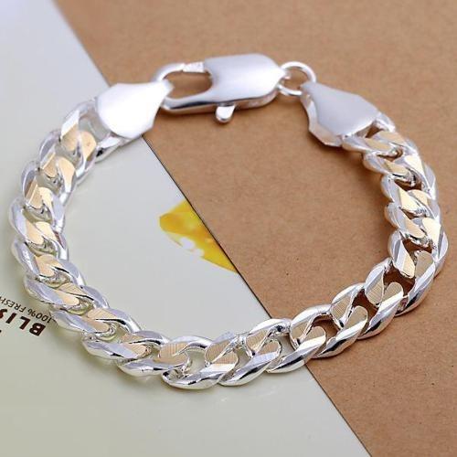 Pulseira Masculina Prata Com Detalhes Em Ouro Grumet - J1316