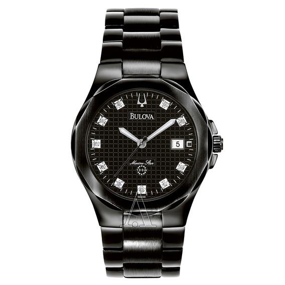 Relógio Bulova 98d008 Marinestar Diamond Orig Anal Black