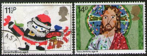Imagen 1 de 1 de Reino Unido Serie X 2 Sellos Usados Navidad Año 1981