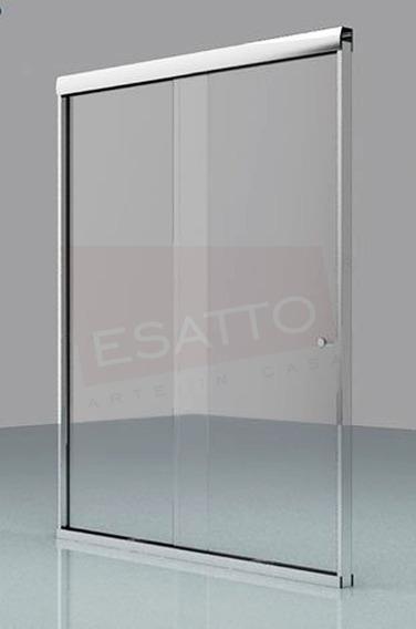 Esatto® Cancel Baño Recto Cristal Transp Templado Aluminio