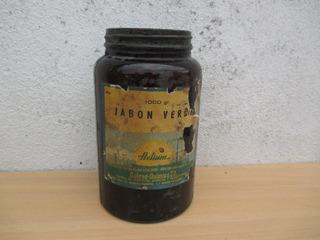 Antiguo Frasco Jabon Verde Hetium