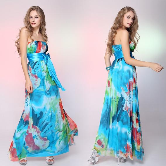 Vestido Largo Strapless De Gasa 3xl