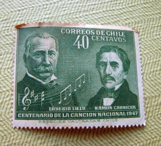 Antigua Estampilla Chilena 1947 - 40 Centavos
