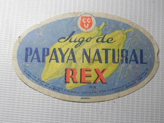 Jugo Papaya Rex Ccu Etiqueta Bebida Antigua