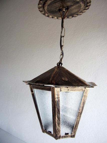 Pendente Luminária Lustre De Teto Área Externa Ouro Velho