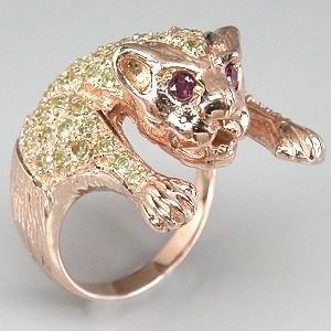 Anel Tigre Em Prata 925 Com Banho De Ouro Rose 18 K