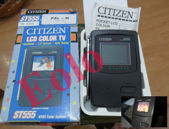 Tv Citizen St 555 Analógica Antiga Caixa E Manual Tela 2pol