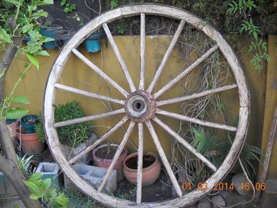 Rueda De Carro Antigua De Madera Con Aro De Hierro 1.60 Mts