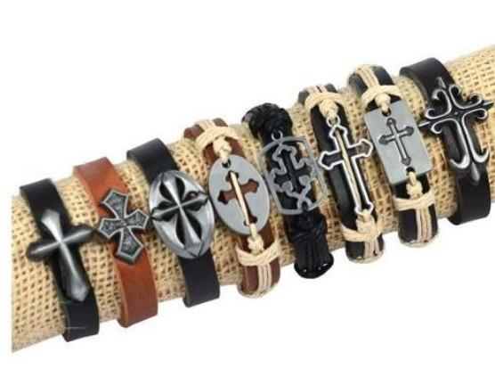 Kit 8 Pulseiras Bracelete Cruz Em Couro Legítimo
