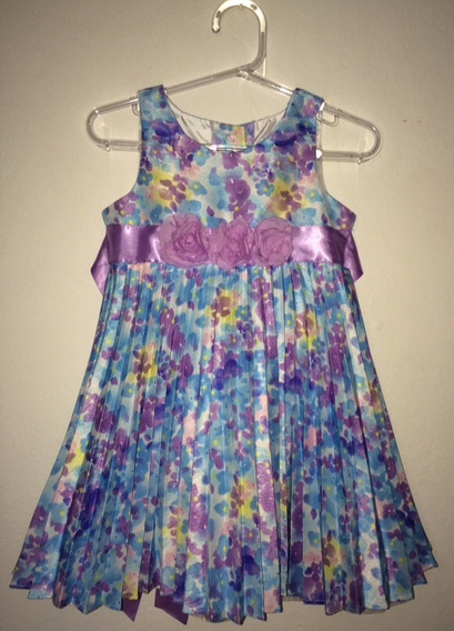 Vestido Florido Azul/ Lilás Nannette 2 Anos