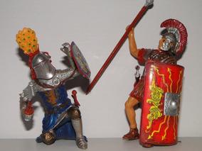 02 Gladiador Romano Lança Espada Combate Escudo Figura10cm