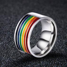 Gayfest Anel Half Rainbow Aço Inox Tamanho 21 Lgbt