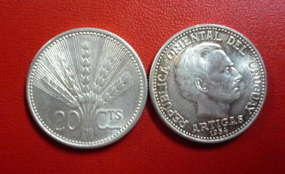 Uruguay República Oriental Moneda 20 Centavos Au 1954