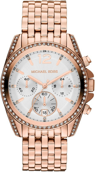Relógio Michael Kors Mk5836 Pressley Orig Chron Anal Gold