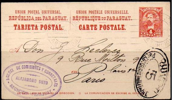 Paraguay 1917. Tarjeta Entero Postal A Paris, Censurada