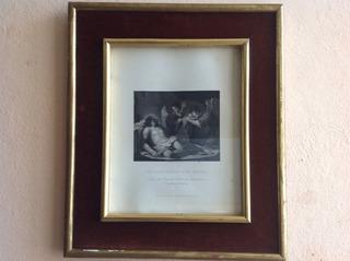 Litografía Antigua, Cristo Muerto Con Angeles, Siglo Xix