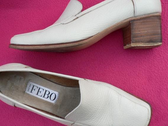 Zapato Mocasin Hermoso Cuero Nº 36 37 Febo