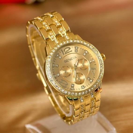 Relógio Feminino Geneva Pulseira Dourada Luxo Frete Grátis