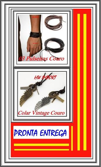 03 Pulseiras Masculina Couro + 01 Colar Asa Anjo Couro