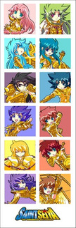 Plancha De Stickers De Anime De Saint Seiya (1) Dorados