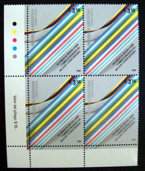 Argentina, Bloque X 4 Gj 3552 30 Cons Mercosur 06 Mint L2539