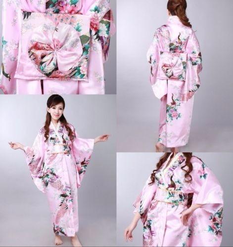 Kimono Purp Japonés Yukata Drees Beautiful Colourful Geisha