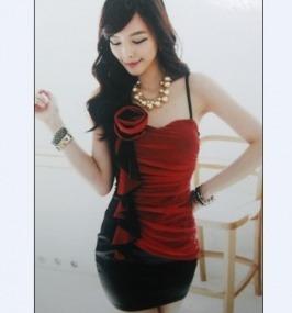 Vestidos de fiesta rojos con negro