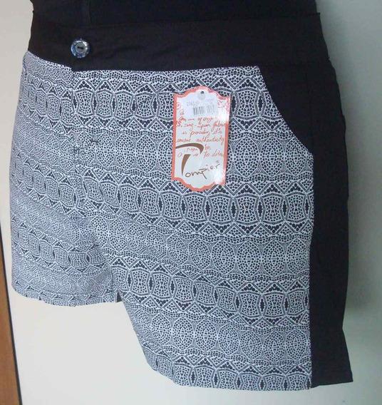 Shorts Estampado P & B Plus Size - Tam. Maiores 50 Ao 58