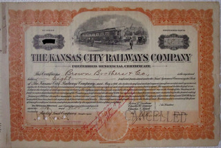 Escasa Accion/bono The Kansas City Railways Company 1916