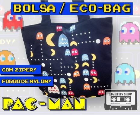Bolsa Pac-man Com Zíper - Forrada - Eco-bag - Praia