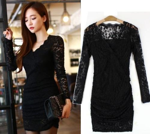 Vestido Negro De Encaje Nuevo Importado En Stock