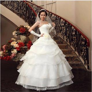 Vestido De Noiva Camadas Luxo Importado Pronta Entrega