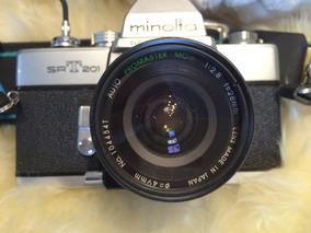 Câmera Srt201 Minolta Com Lente 28mm F2.8 E Acessórios