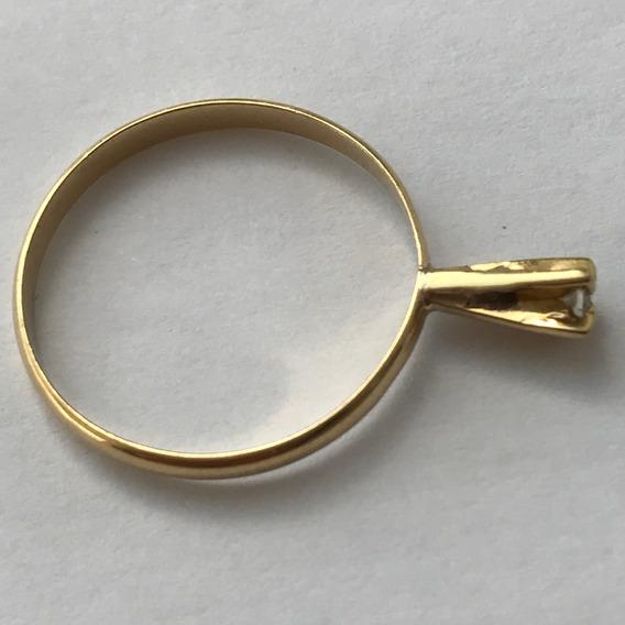 Pequeno Anel Solitário Em Ouro 18k-aro 14.