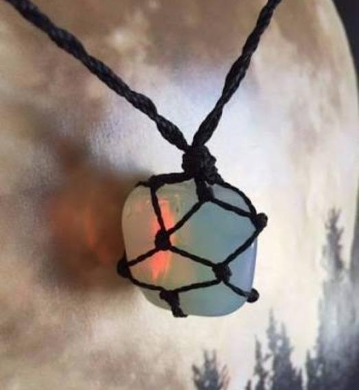 12 Unidades De Colar Pedra Da Lua Opalina Fio Preto Hippie