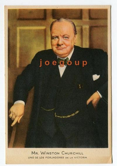 Tarjeta Tipo Postal Ilustrada Mr. Winston Churchill