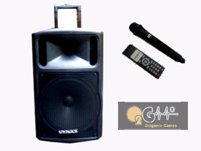 Caixa De Som Amplificada 400w Bateria 2 Mic S/fio Usb/sd
